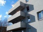 mieszkania, budynek z balkonami